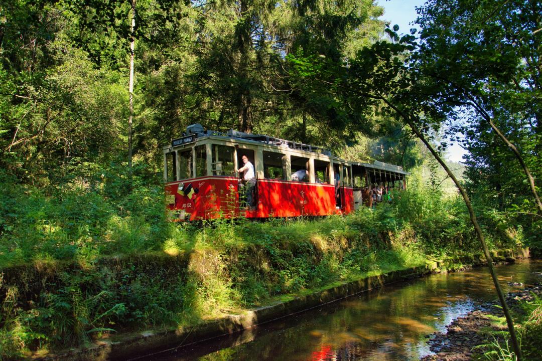 Toeristische tram in de Ardennen