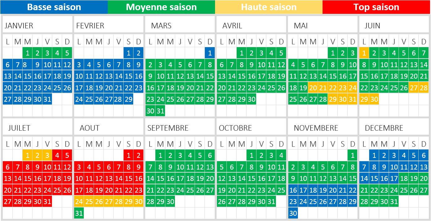 Calendrier saisonnier 2020 glamping dans les Ardennes belges