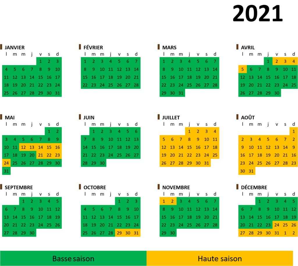 Calendrier saisonnier 2021 camping et glmaping en Ardenne Belgique