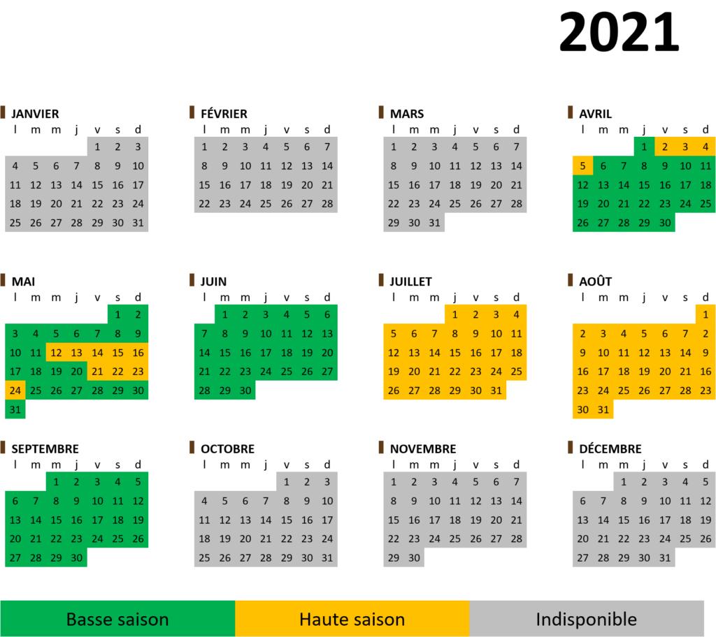 Calendrier saisonnier 2021 hébergement insolite